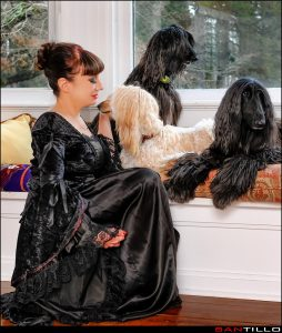 lady of the manor at home with her pets